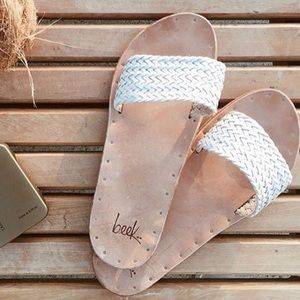 Been | leather slides with white braided band